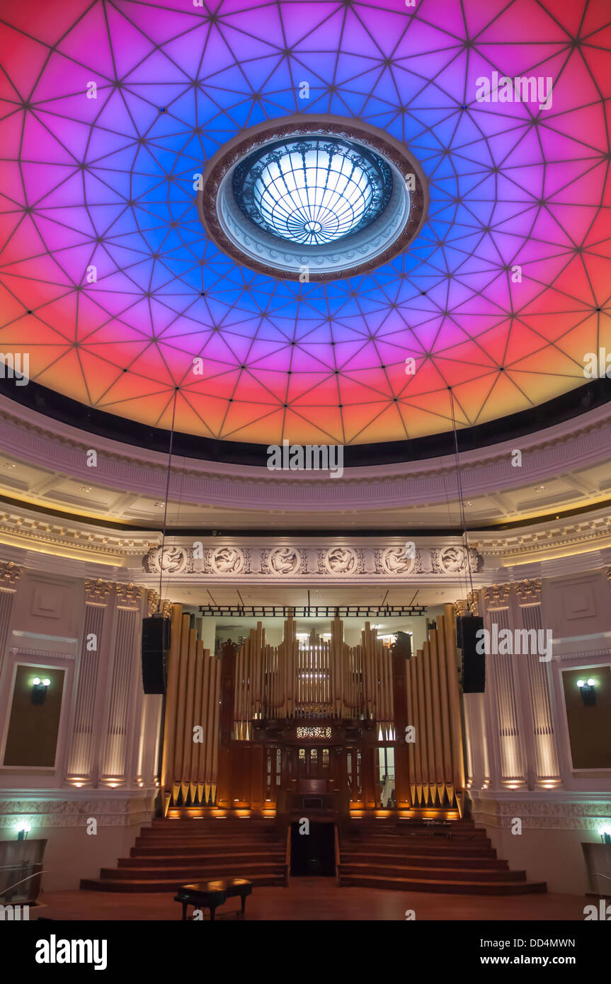 Changing colours of the City Hall auditorium dome, Brisbane, Queensland Stock Photo