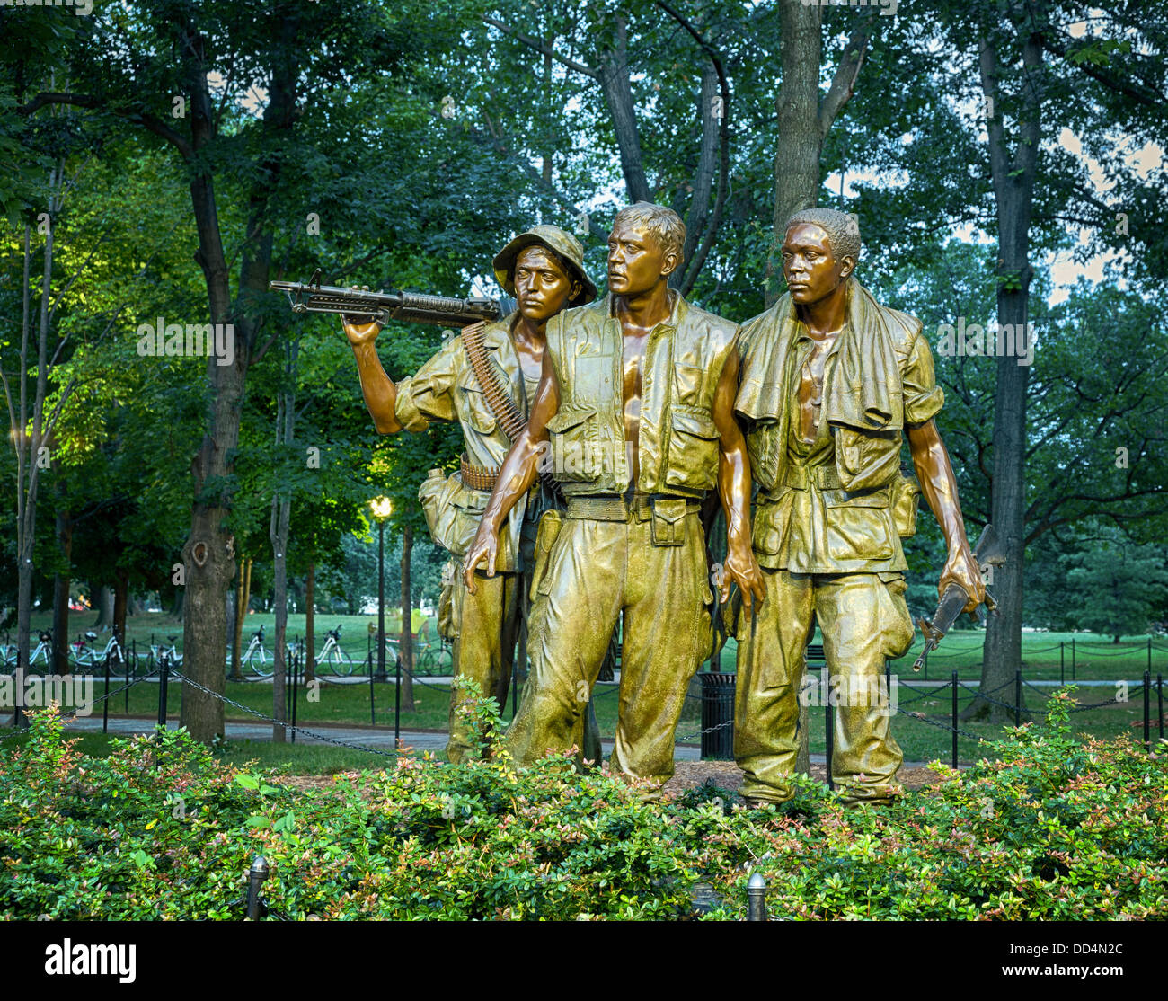The Three Soldiers statue at the Vietnam Veterans Memorial, Washington DC, USA - Stock Image