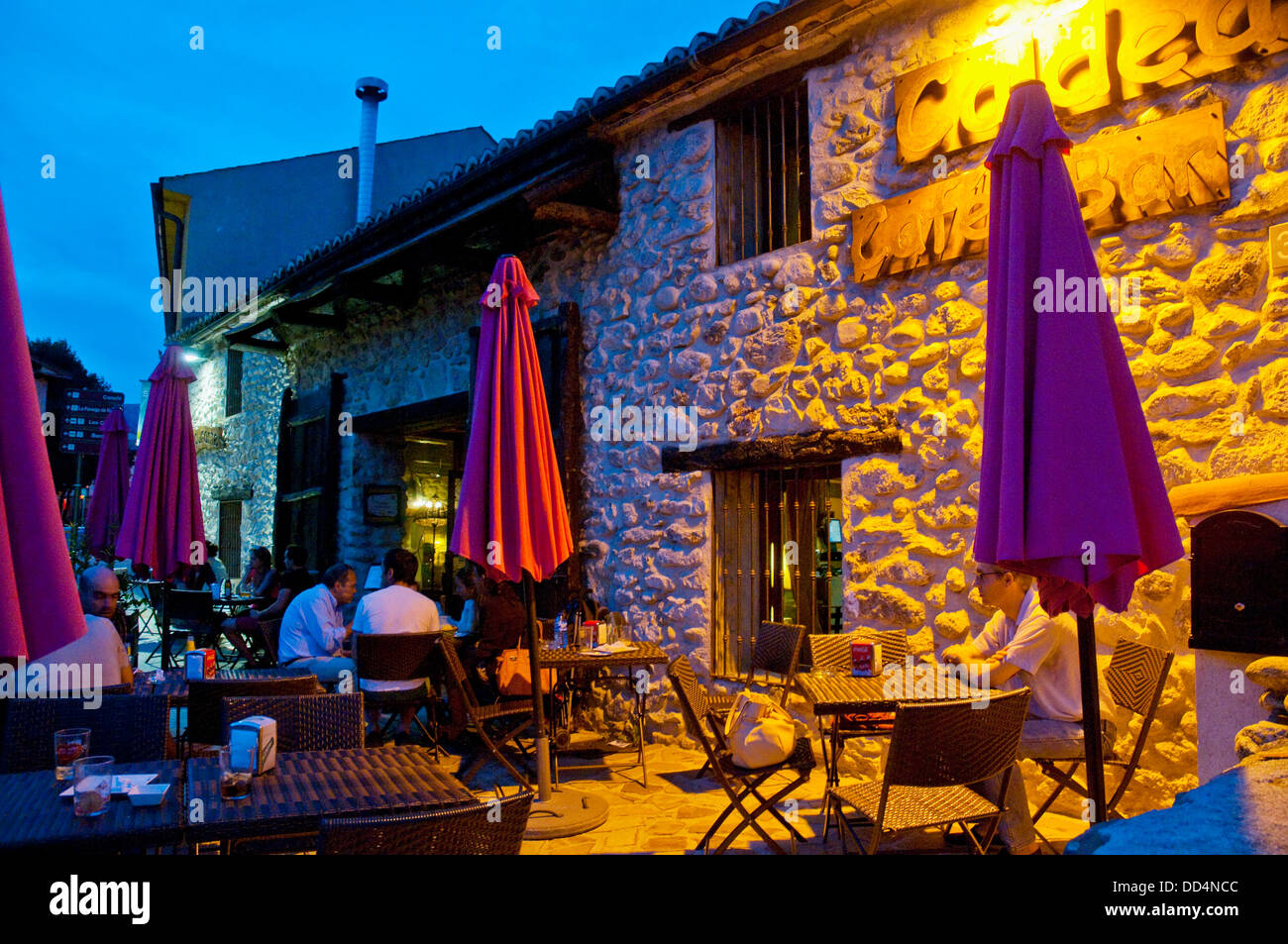 Summer Terrace At Night Rascafria Madrid Province Spain
