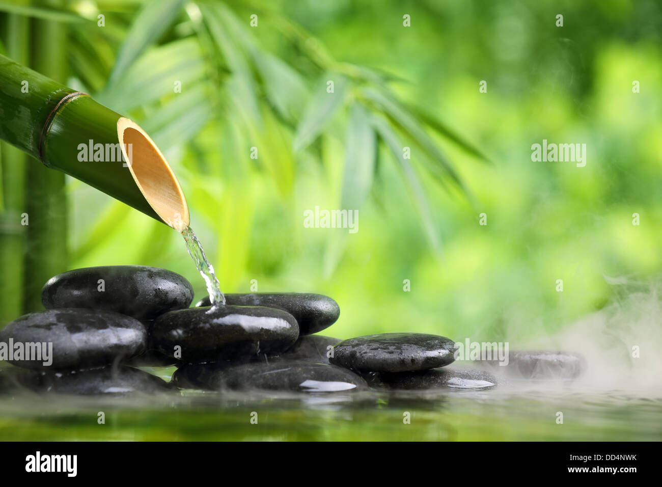 Spa still life with bamboo fountain and zen stone - Stock Image