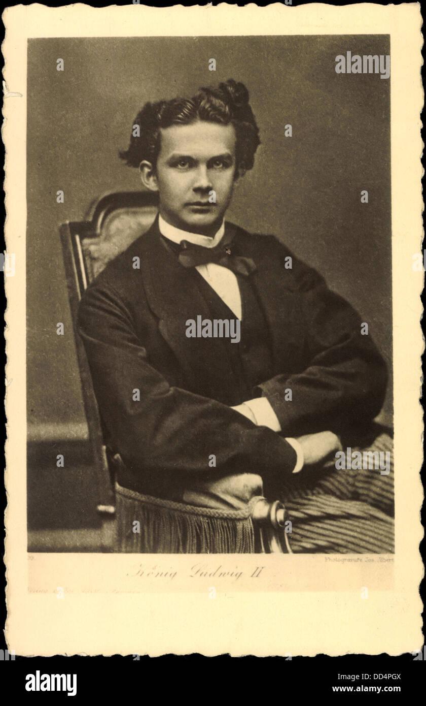 Ak König Ludwig II. von Bayern in Anzug mit Fliege; Stock Photo