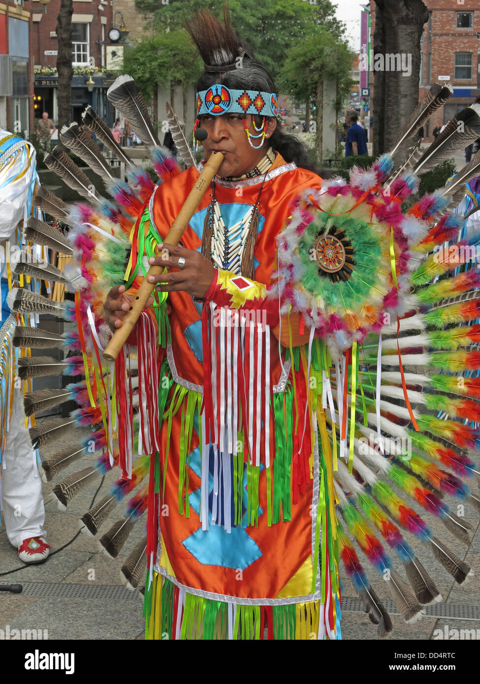 Peruvian South American buskers / entertainers in Warrington town centre , Cheshire , England , UK - Stock Image