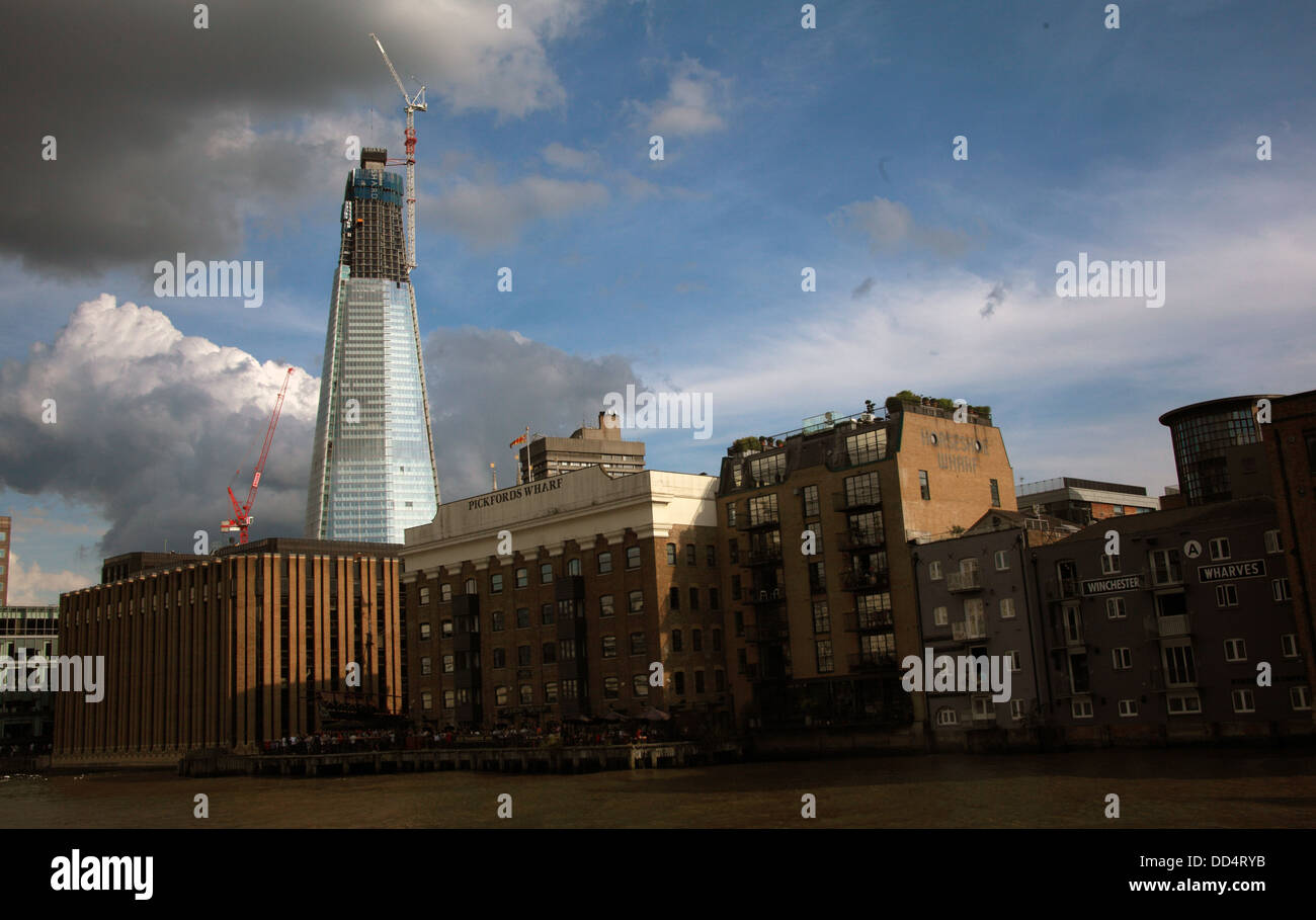 London Shard Building, London Bridge, South Bank Thames, under construction, 2011, South East england, UK - Stock Image