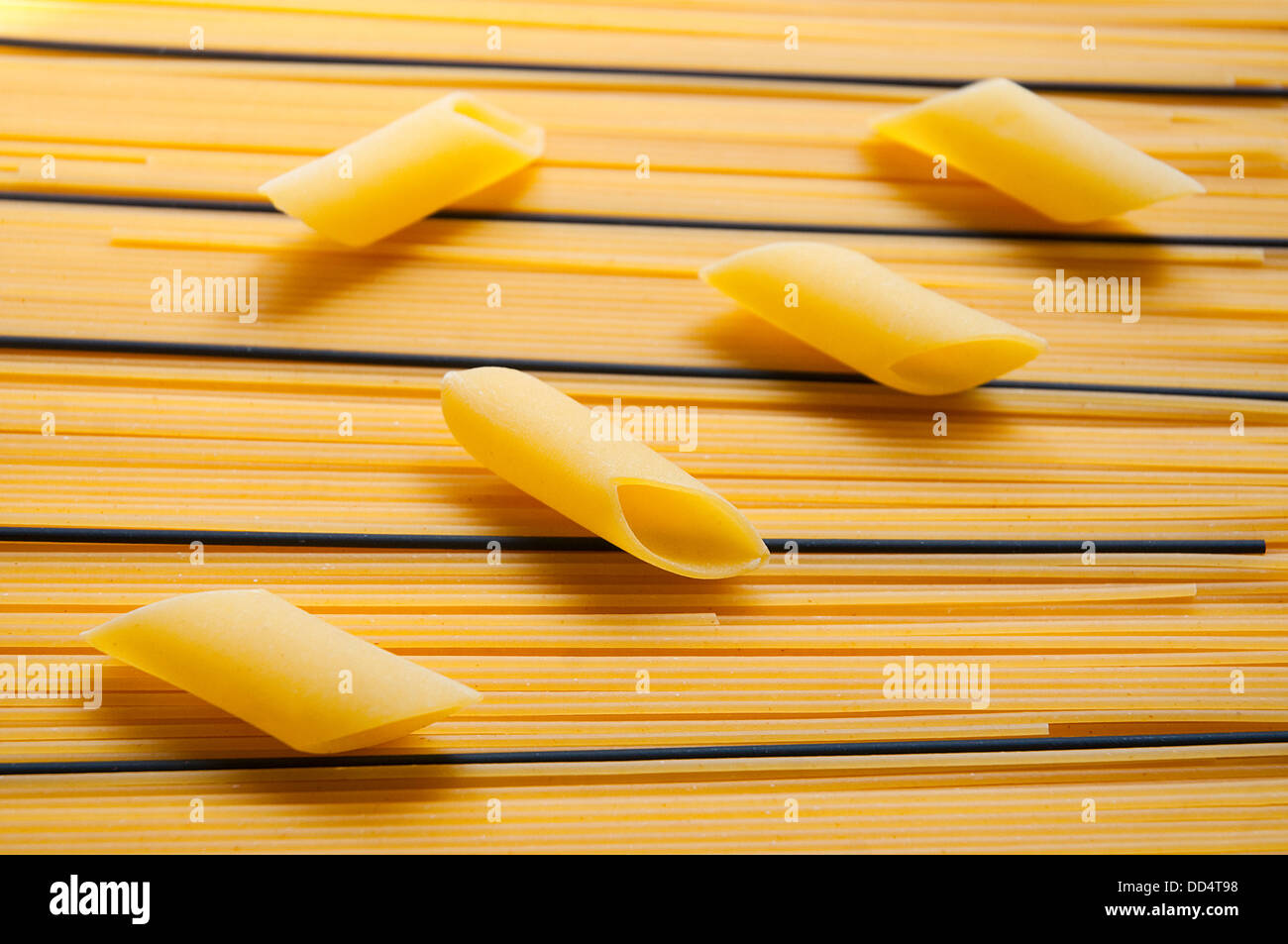 Pasta composition made of macaroni and spaghetti. - Stock Image