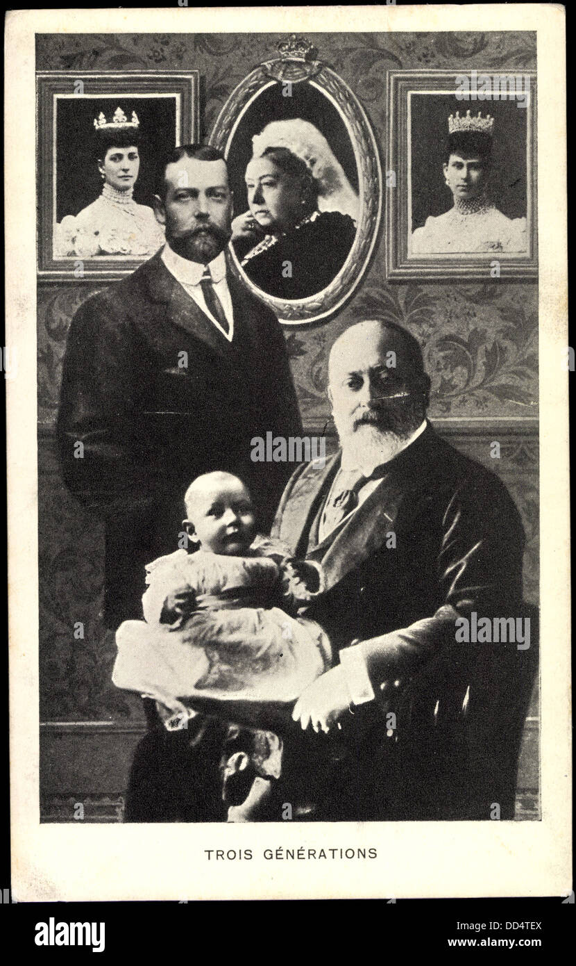 Ak Trois Generations, Queen Victoria, King George V, Edward VII; - Stock Image