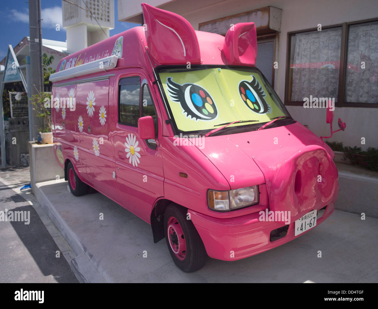 Pig Van in Okinawa, Japan. Pork products are part of the Okinawan diet, with both local pork and imported products - Stock Image