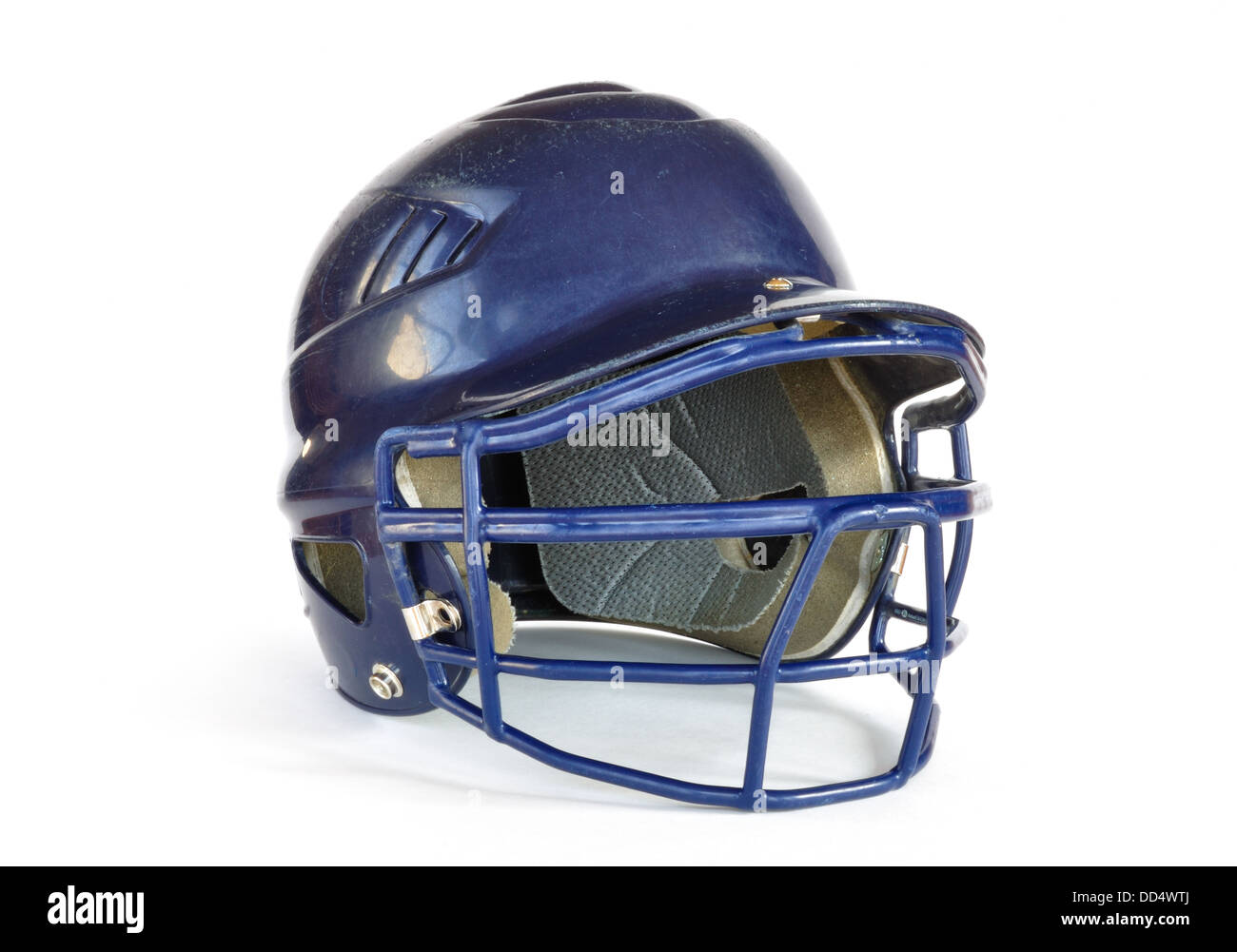 Baseball helmet with facemask isolated on white. - Stock Image