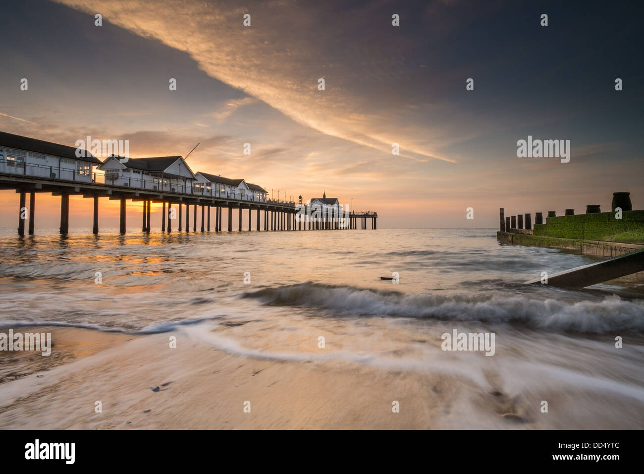 Southwold Pier in Suffolk at sunrise - Stock Image