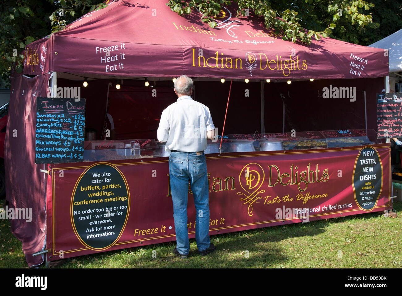 Stonyhurst College, Clitheroe, UK. 26th August, 2013. Indian Delights catering, and takeaway at the Great British - Stock Image