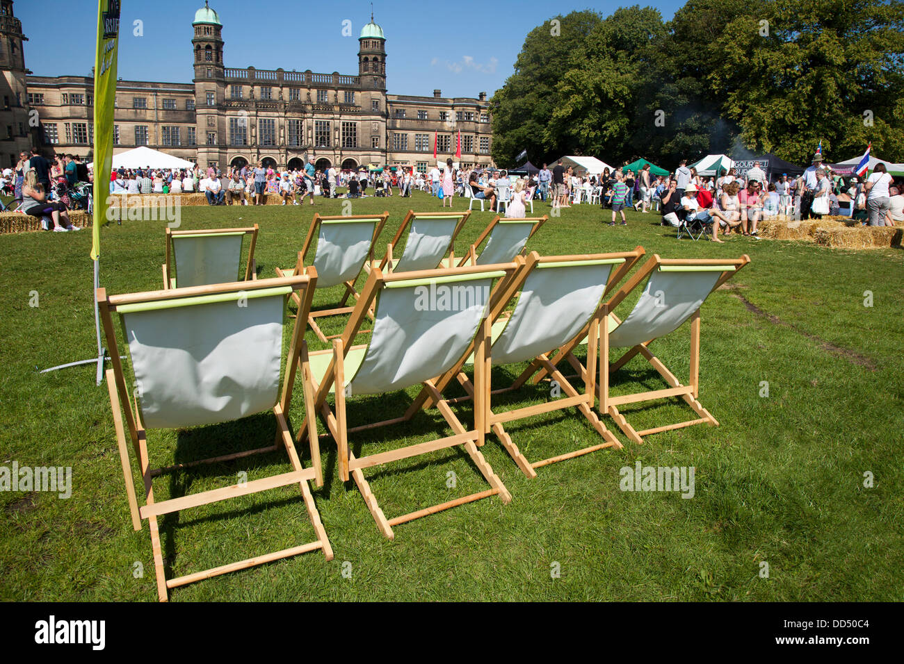 Stonyhurst College, Clitheroe, UK. 26th August, 2013. Deckchairs and seating at the Great British Food Festival - Stock Image