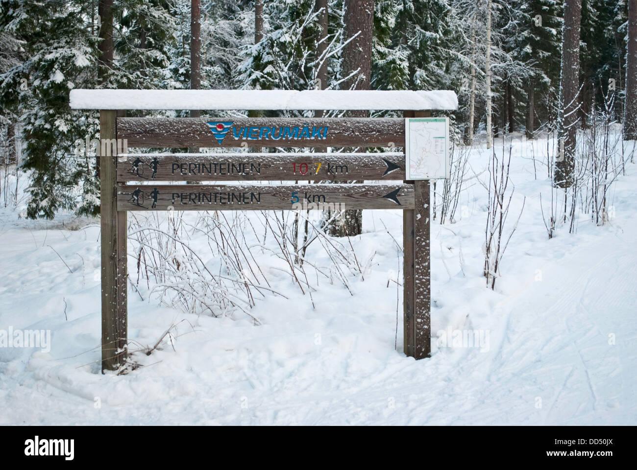 Pointer of the ski-run at the sports center Vierumaki, Finland. - Stock Image