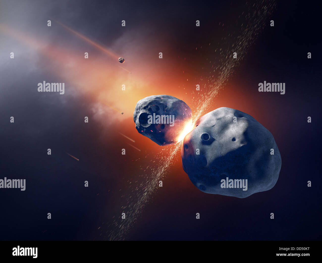 Asteroids collide and explode in deep space - Stock Image