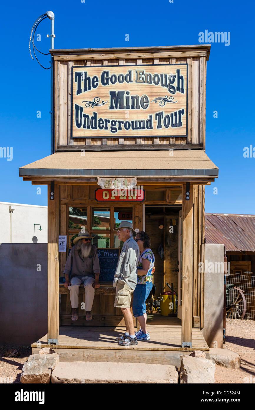 Ticket booth for The Good Enough Mine Underground Tour, Tombstone, Arizona, USA - Stock Image