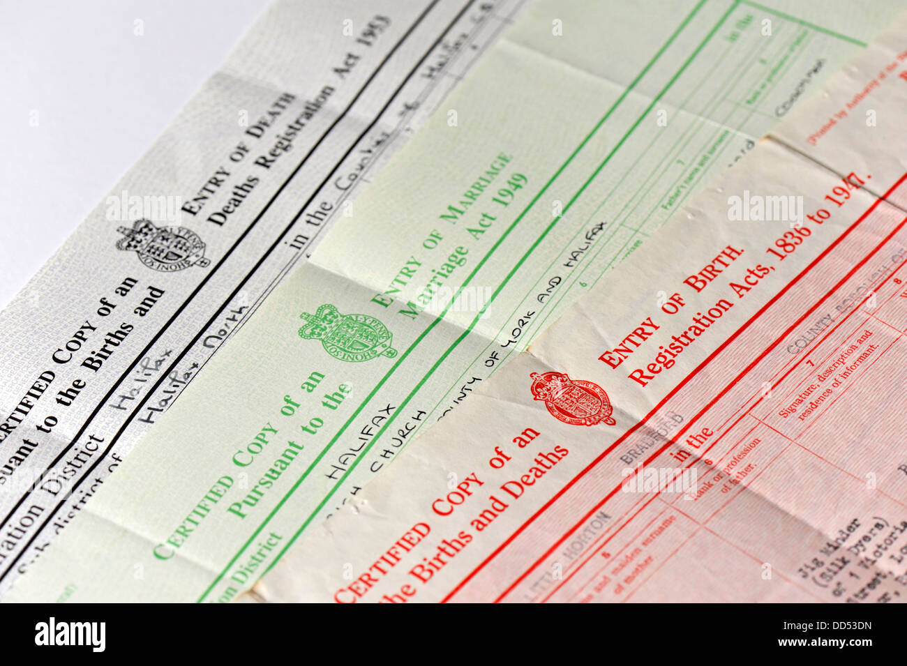 Birth/Marriage/Death Certificates Stock Photo