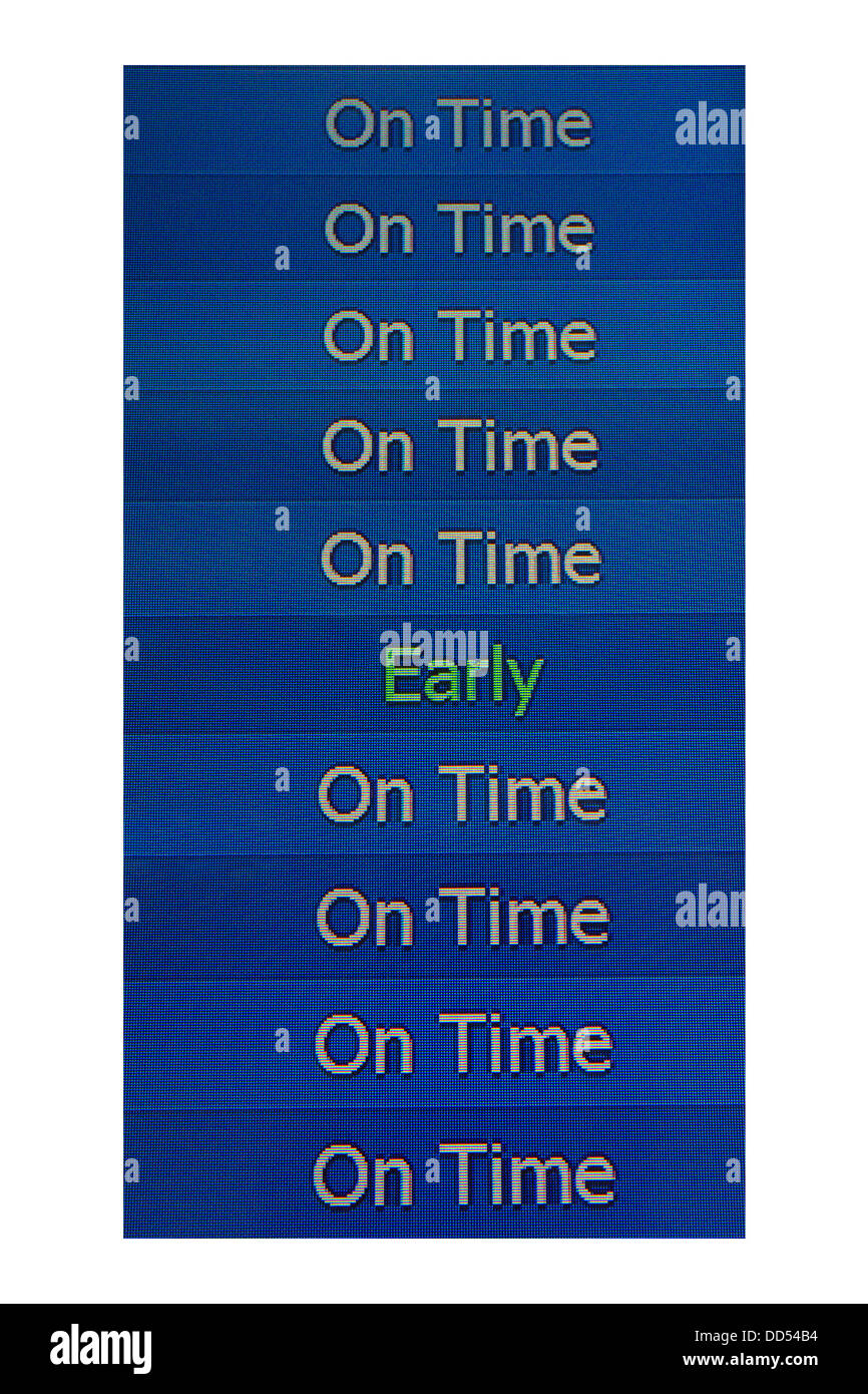 Airport electronic arrivals board showing one early flight among on time flights - Stock Image