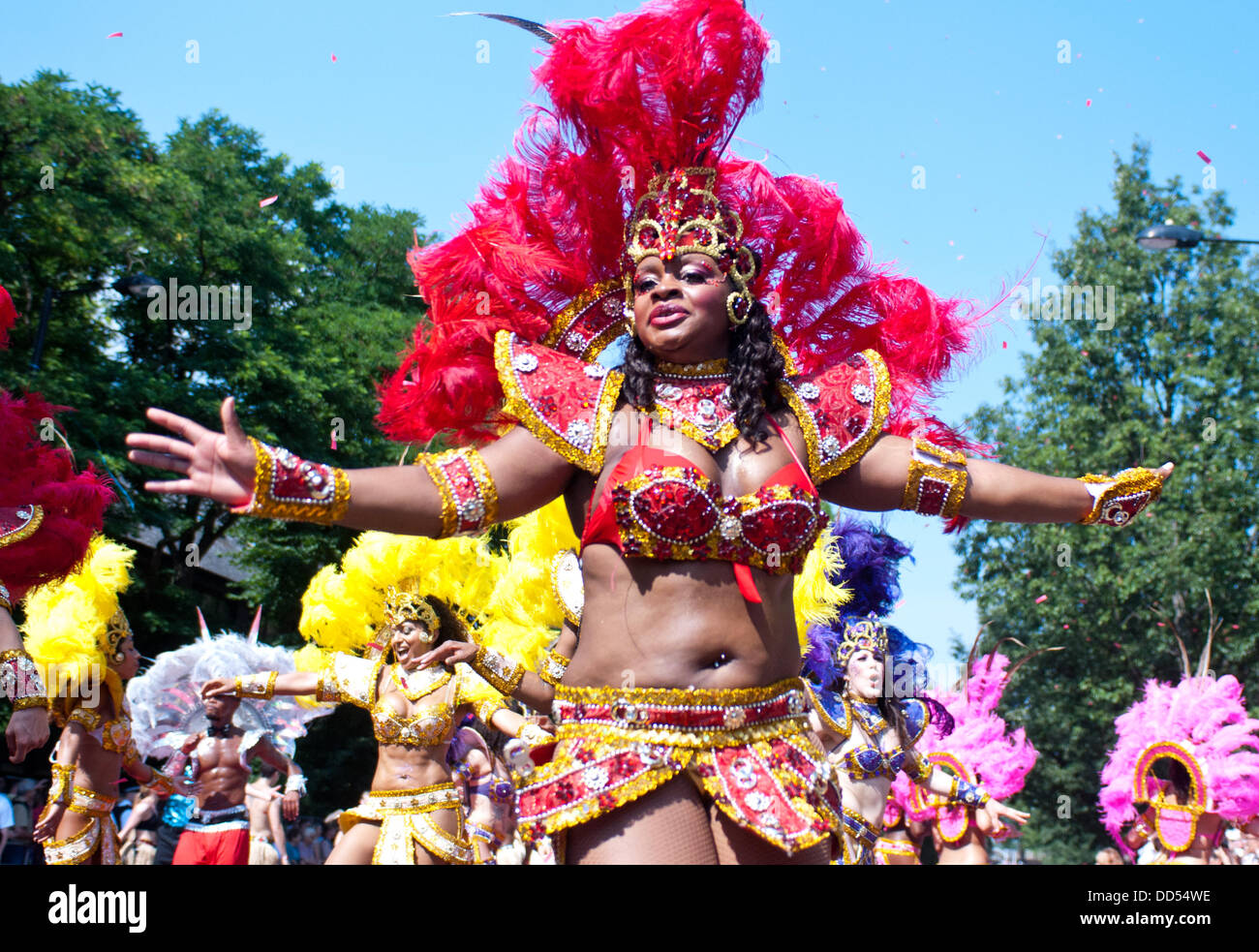 London, UK - 26 August 2013: revellers take part in the annual parade at the Notting Hill Carnival. Credit:  Piero - Stock Image