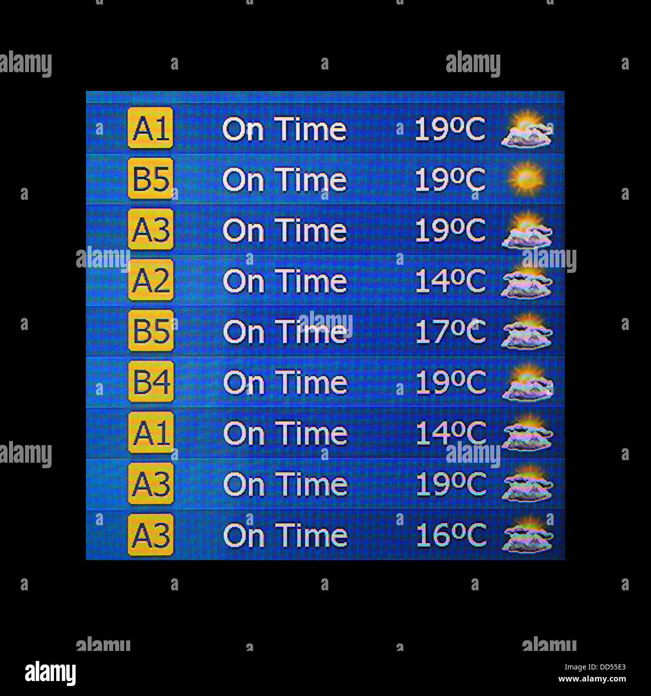 Airport electronic departures board showing on time flights and weather - Stock Image