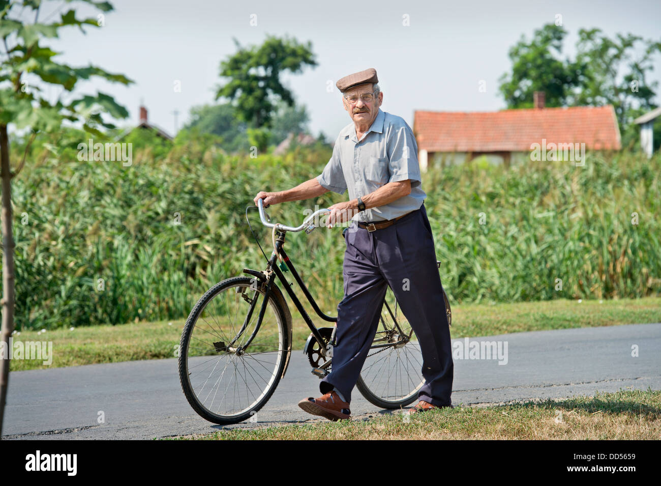 A Hungarian man in the town of Devavanya, Hungary (20 Aug 2013) Stock Photo