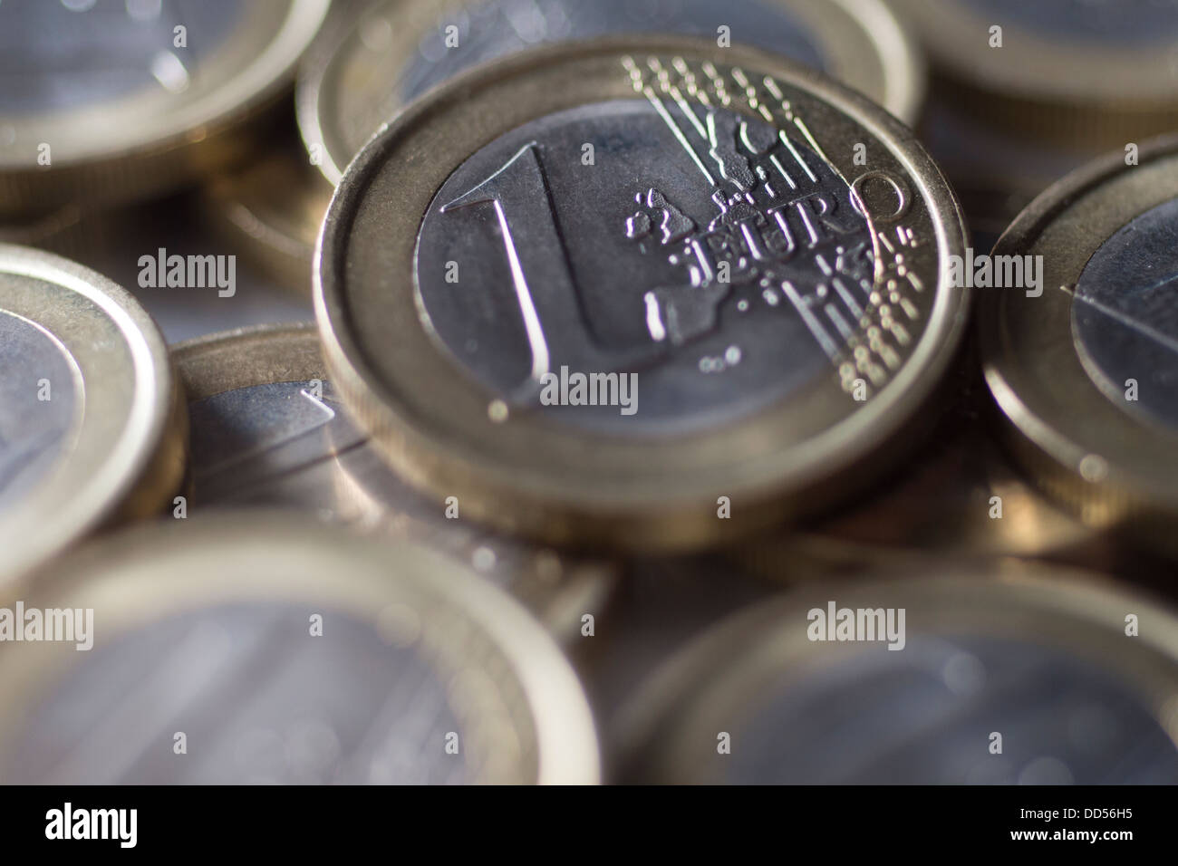 Close up of 1 Euro coins - Stock Image