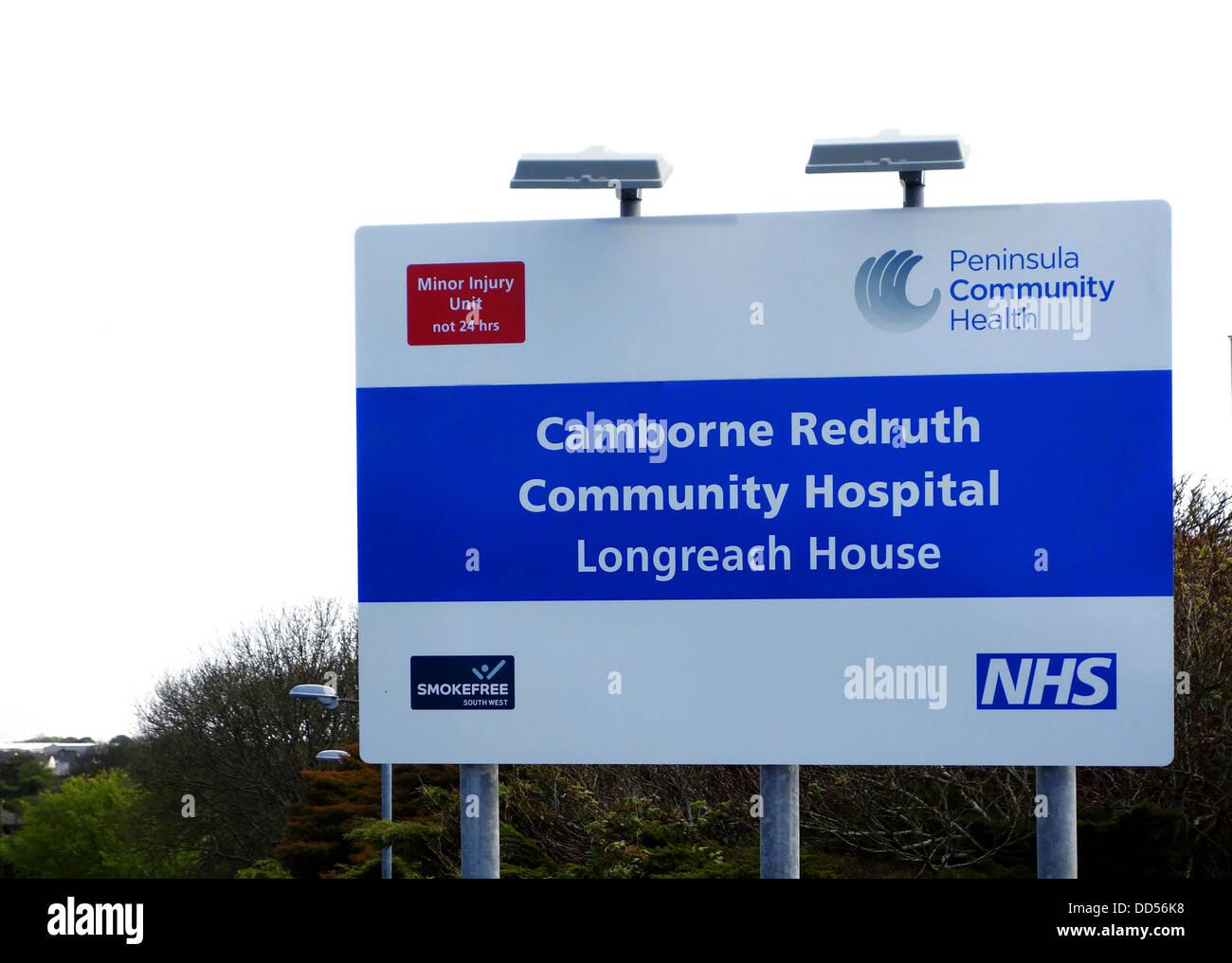 camborne / redruth community hospital sign, cornwall, uk - Stock Image