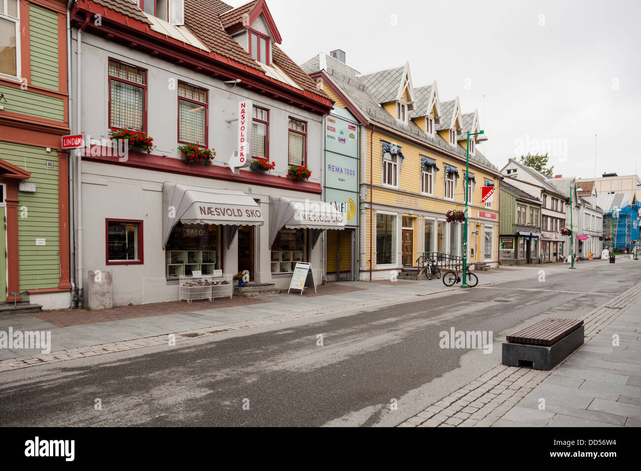 Street view from Tromso with old wooden houses - Stock Image