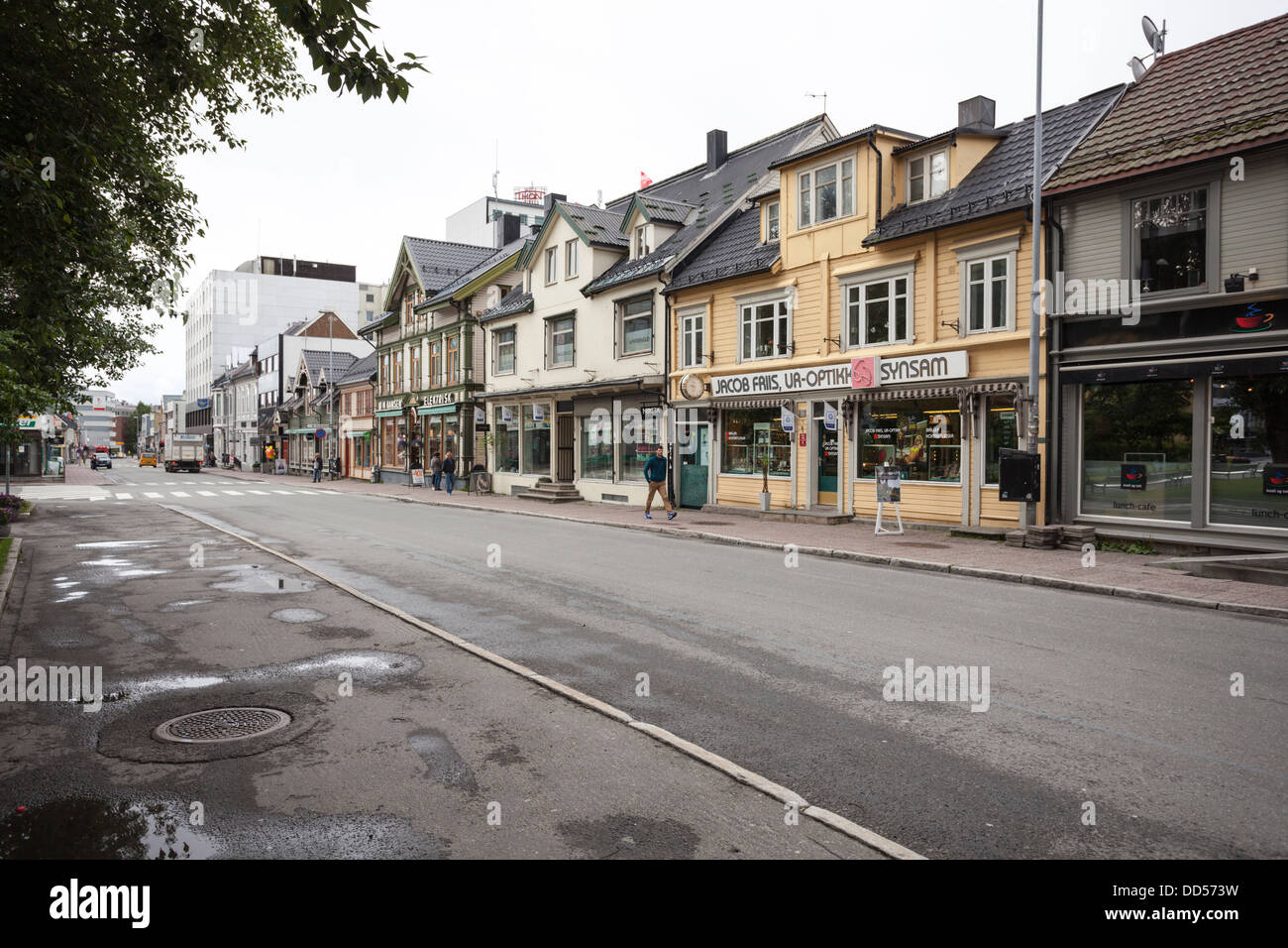 Street view from Tromso city center with old wooden houses - Stock Image
