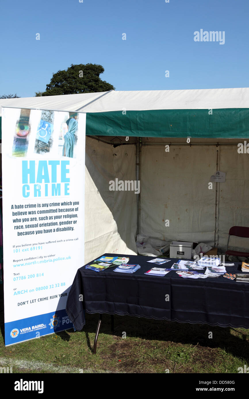 Newcastle-upon-Tyne, UK. 26th Aug, 2013. A stall focussing on Hate Crime at Newcastle Mela in Newcastle-upon-Tyne, - Stock Image