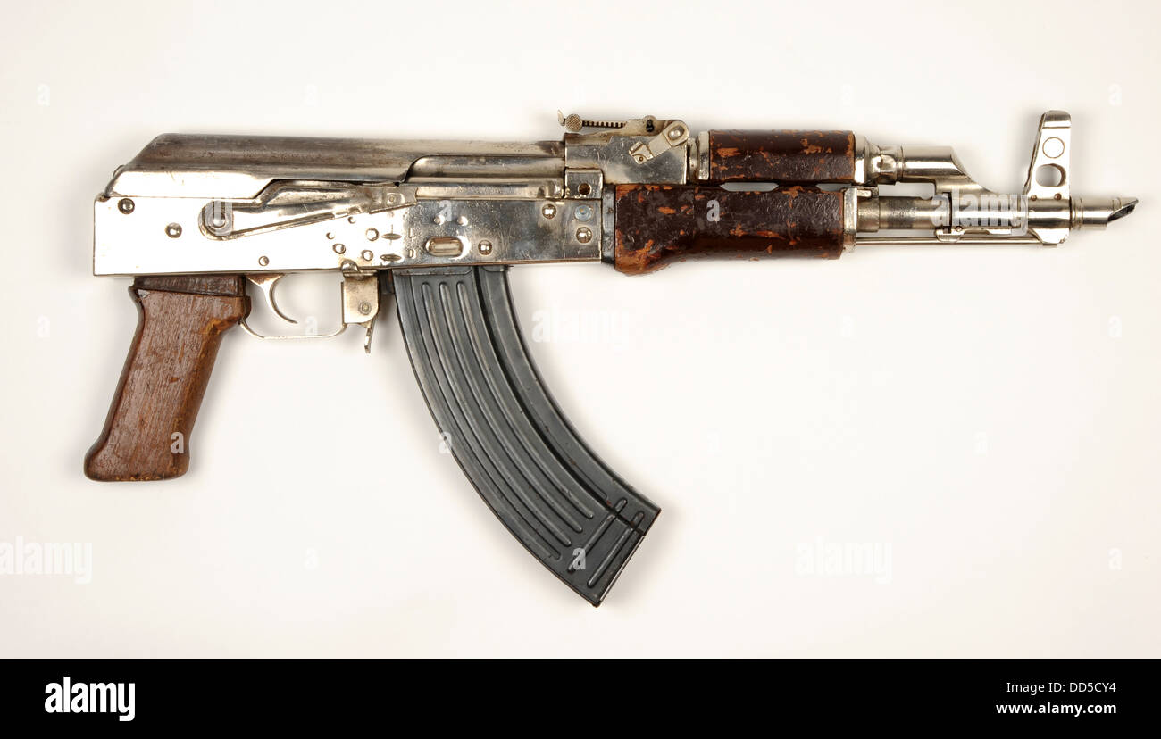 Chinese Type 56 assault rifle heavily modified by Hamas forces in Palestine. Shortened barrel, no stock and chrome Stock Photo