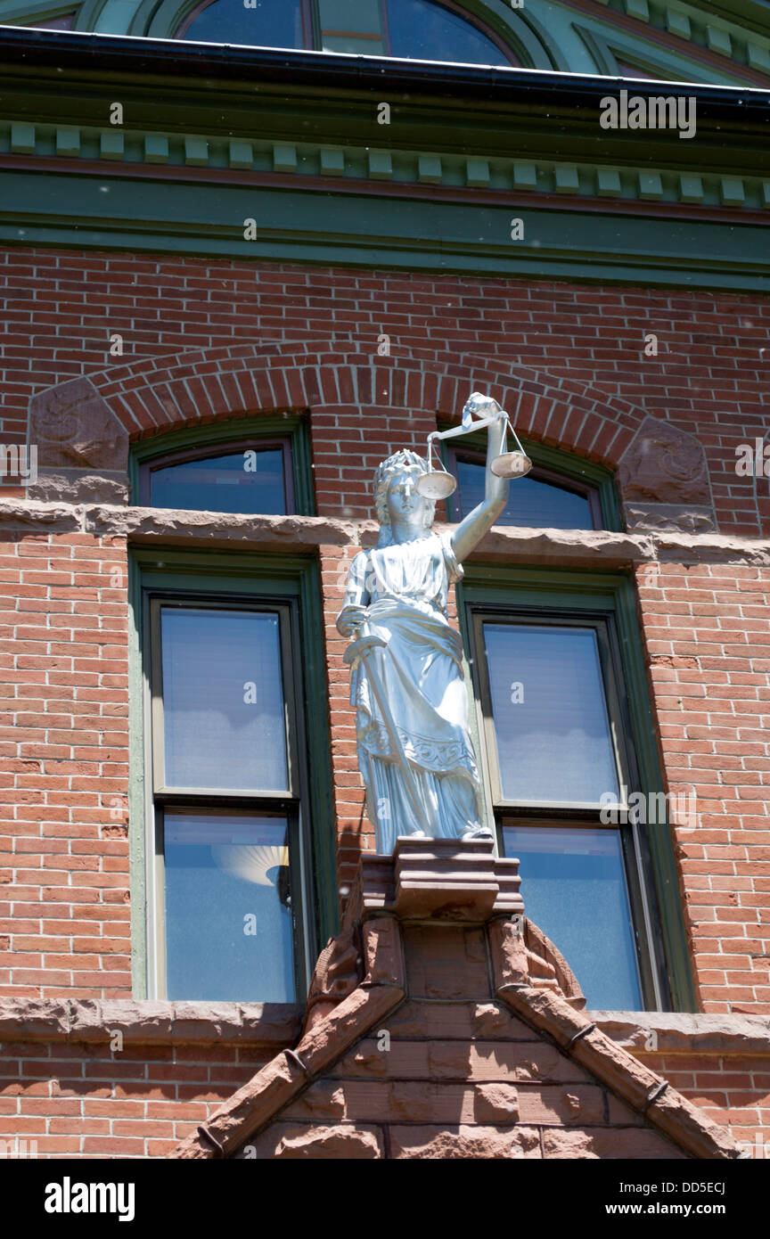 The justice statue on the court house in Telluride, Colorado. - Stock Image