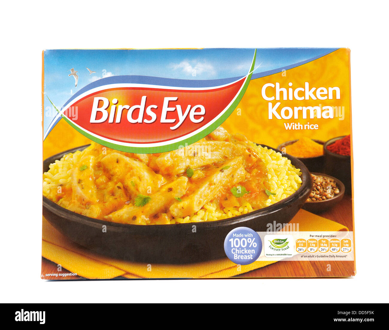 Birdseye chicken korma with rice ready meal - Stock Image