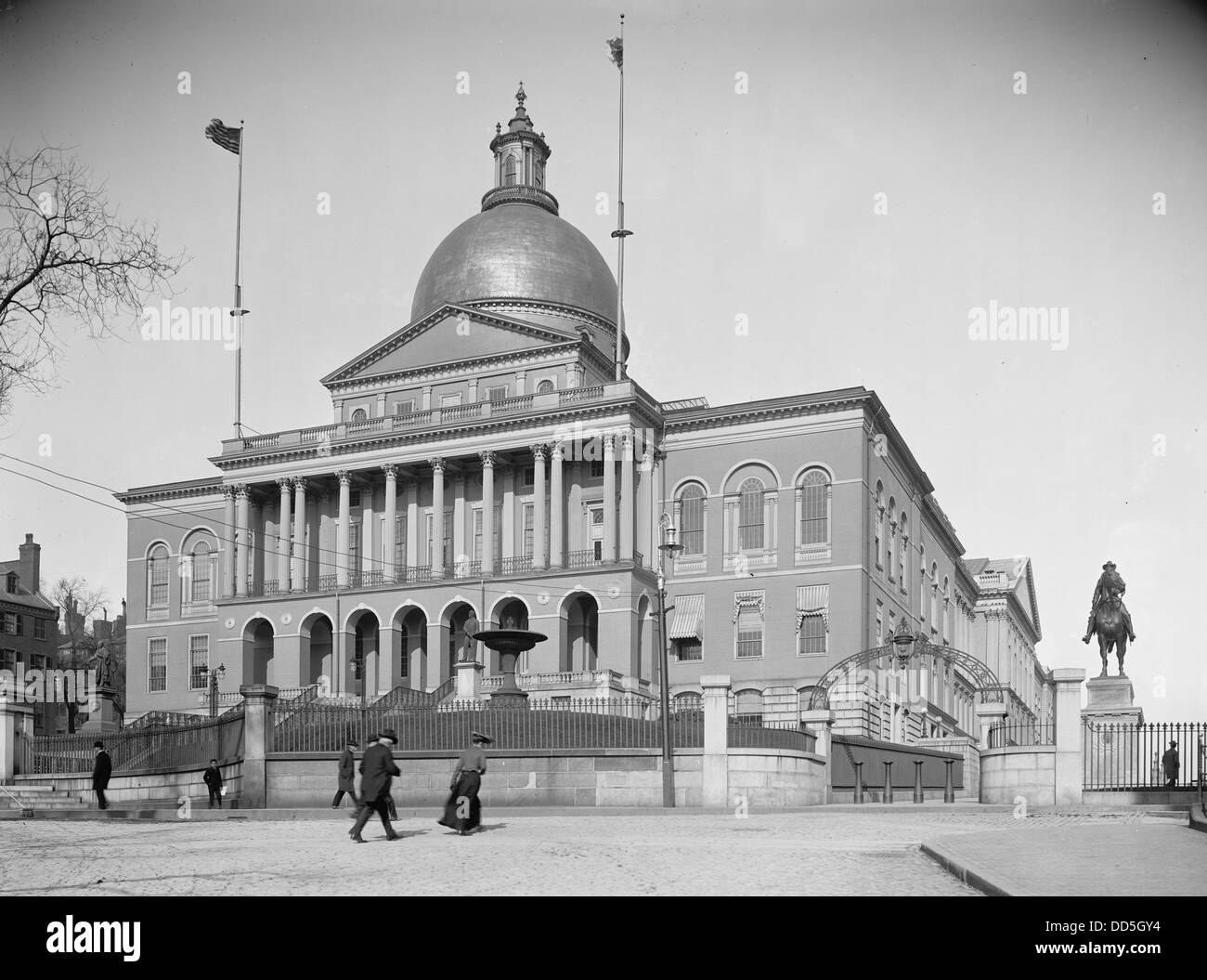 Massachusetts State House, Boston, ca. 1900 - Stock Image