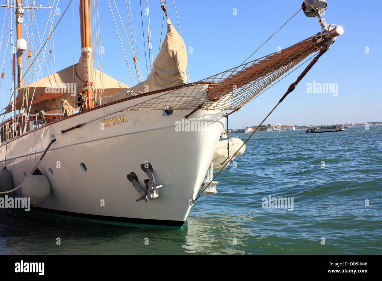 Classic Dutch sailing yacht Iduna - Stock Image