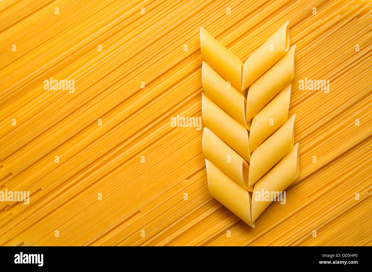 Pasta composition. Ear made of macaroni on spaghetti background. - Stock Image