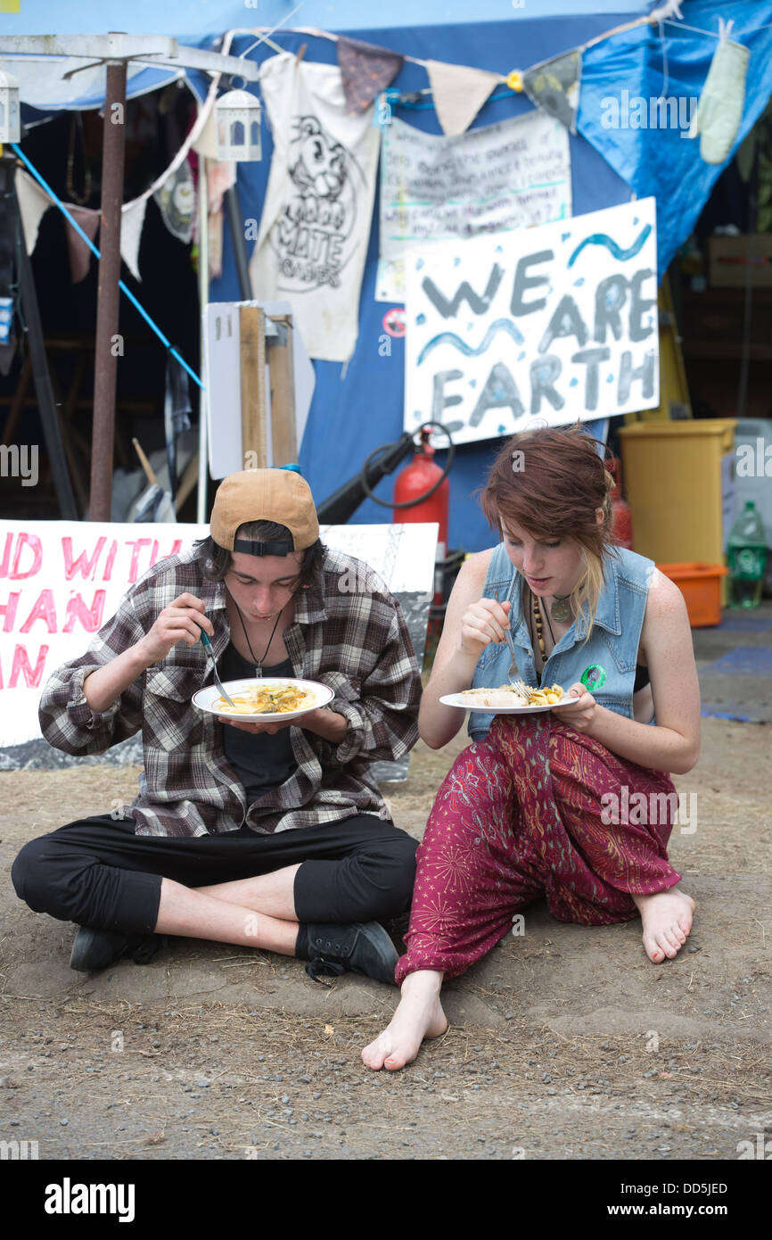 Balcombe, West Sussex, England, UK. 20th August 2013.  Fracking protesters outside the Cuadrilla drilling site in - Stock Image