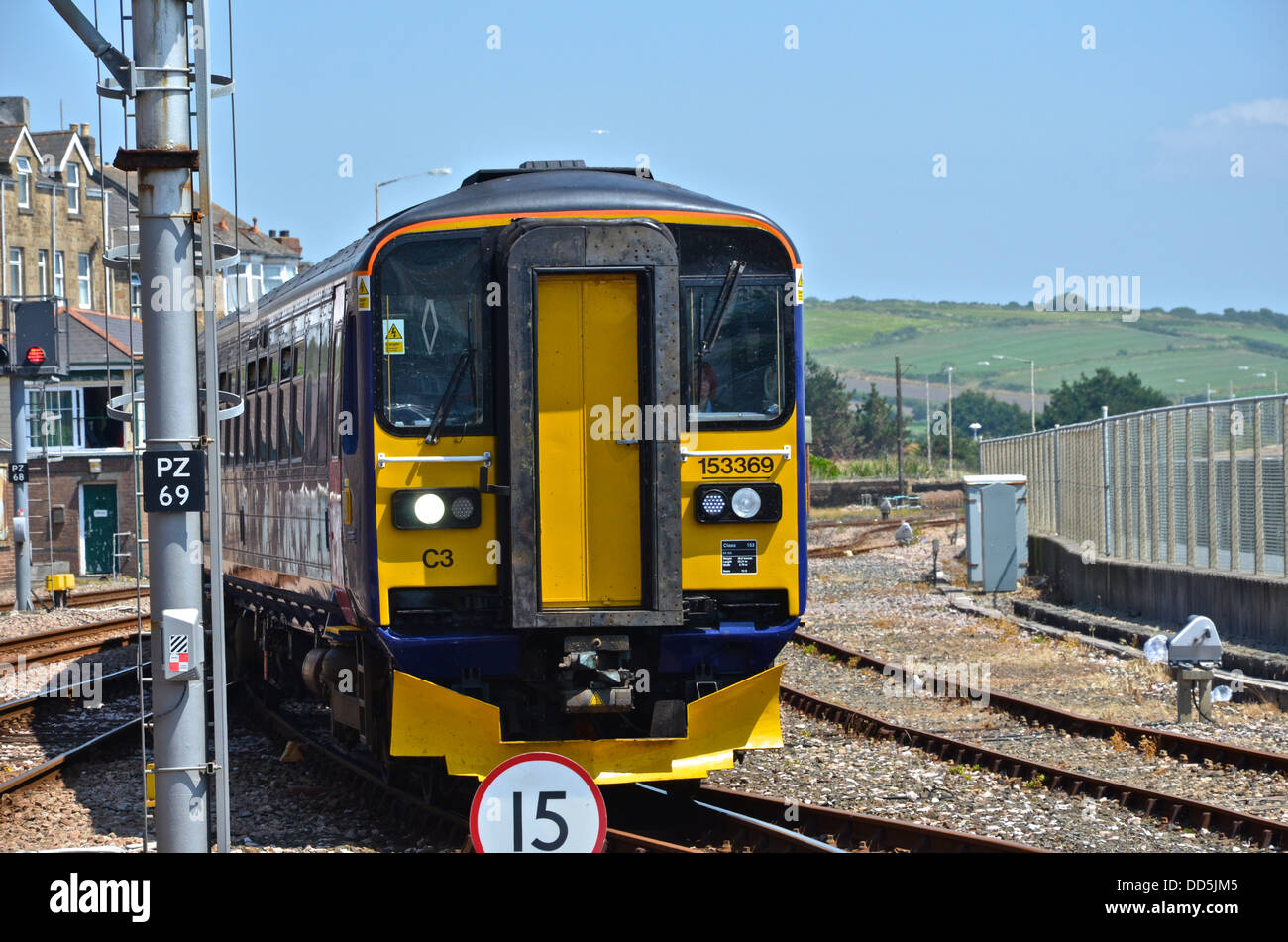 DMU 153369 arrives at Penzance Terminus from Newton Abbot on the 12th July 2013 - Stock Image