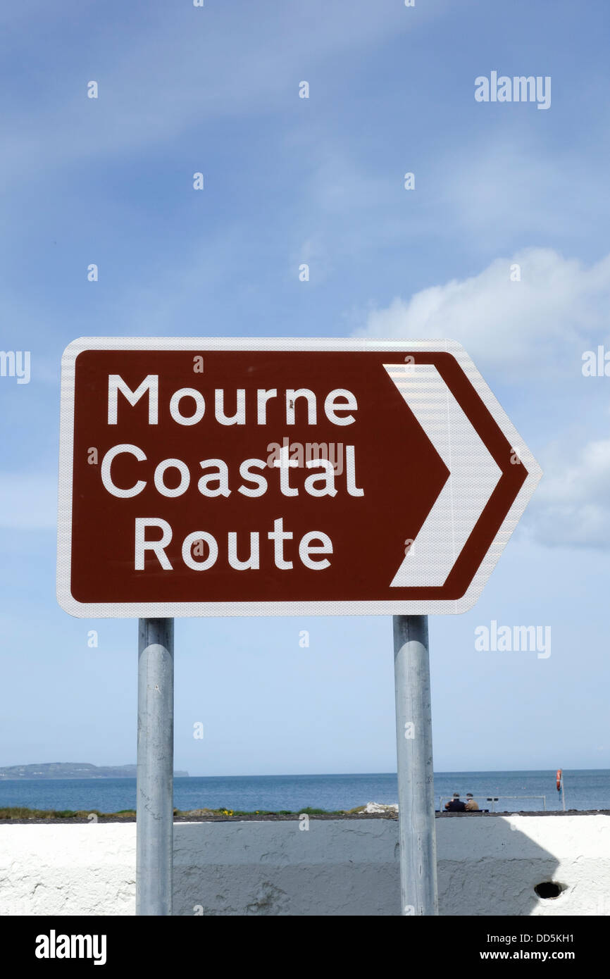 Mourne Coastal Route sign, Bangor, Co. Down, Northern Ireland - Stock Image
