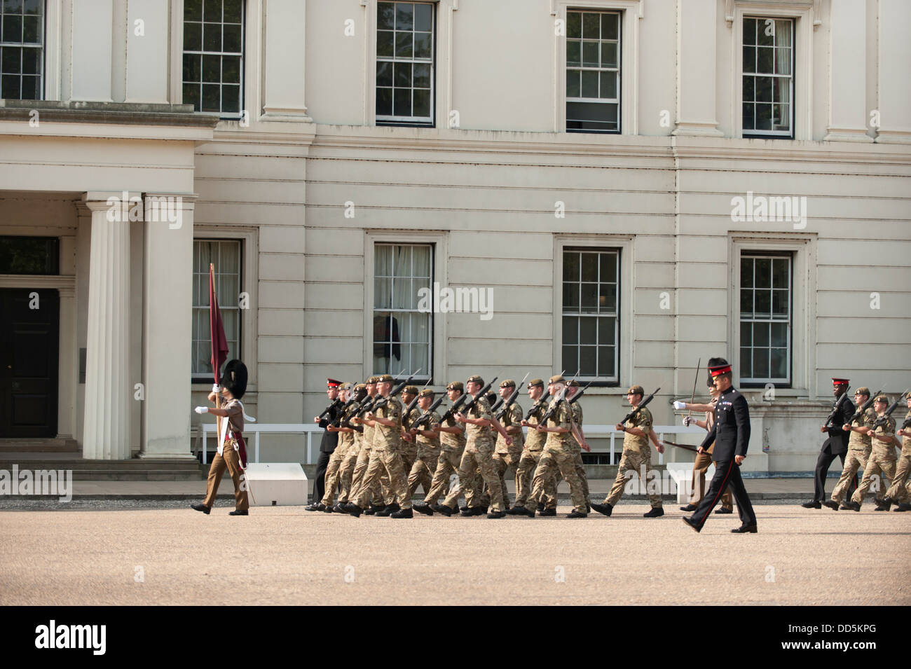Guardsmen Square Bashing at Wellington Barracks in central London - Stock Image