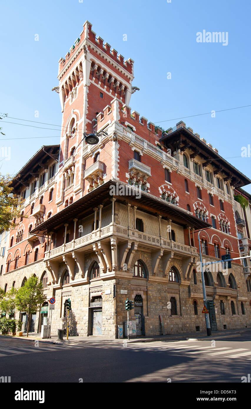 Cova Castle (Castello Cova, also known as Palazzo Viviani Cova, circa 1910). Architect Adolfo Coppede. Milan, Italy - Stock Image