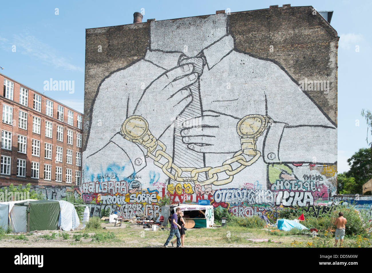 Street art in bohemian district of Kreuzberg in Berlin Germany - Stock Image