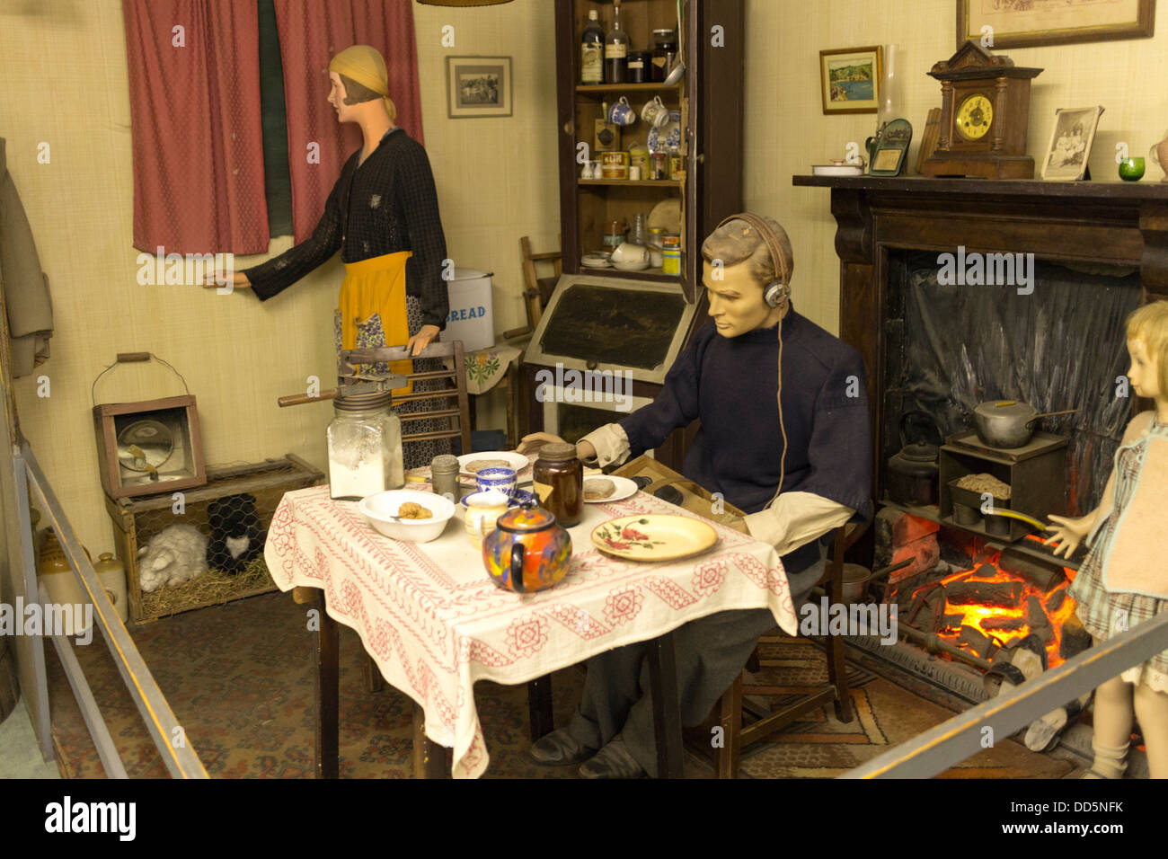 Guernsey 2013. German occupation museum. Reconstruction of Islanders home - Stock Image
