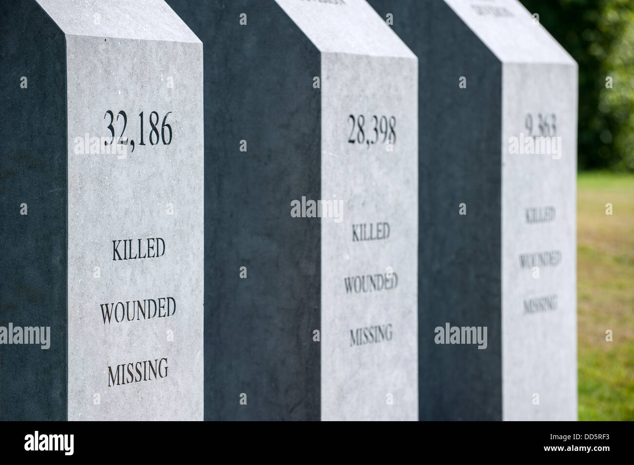 Pillars showing casualties numbers at Irish Peace Park, First World War One monument at Mesen / Messines, West Flanders, - Stock Image