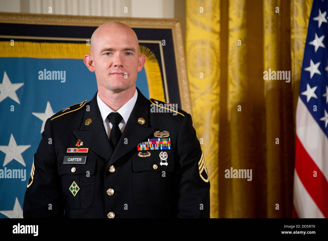 US Army Staff Sgt. Ty Michael Carter during his Medal of Honor ceremony in the East Room of the White House August - Stock Image