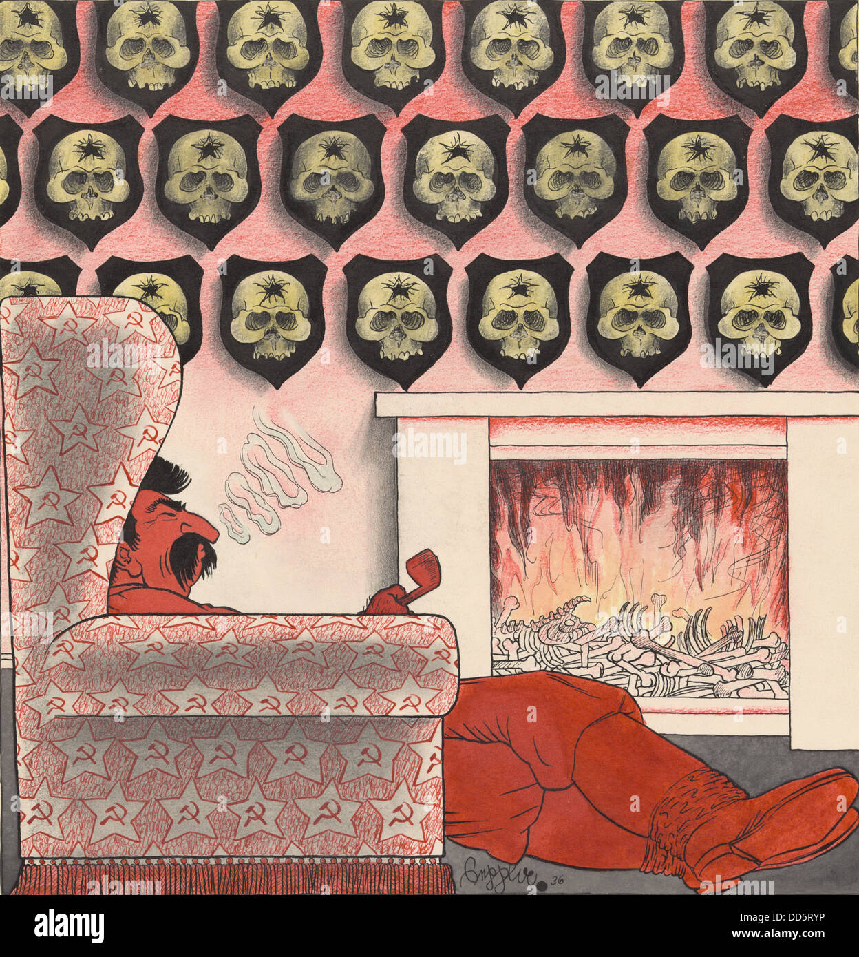 1936 Cartoon on Joseph Stalin's party purges. Stalin sits in front of a fireplace filled with bones. Human skulls - Stock Image