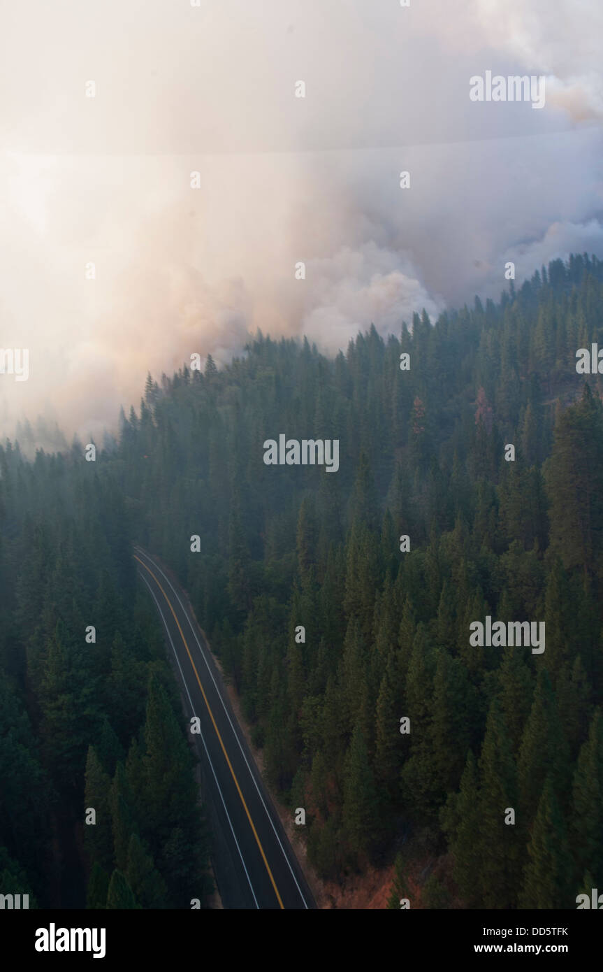 California Air and Army National Guard out in force in support of U.S. Forest Service and CAL FIRE battling the - Stock Image