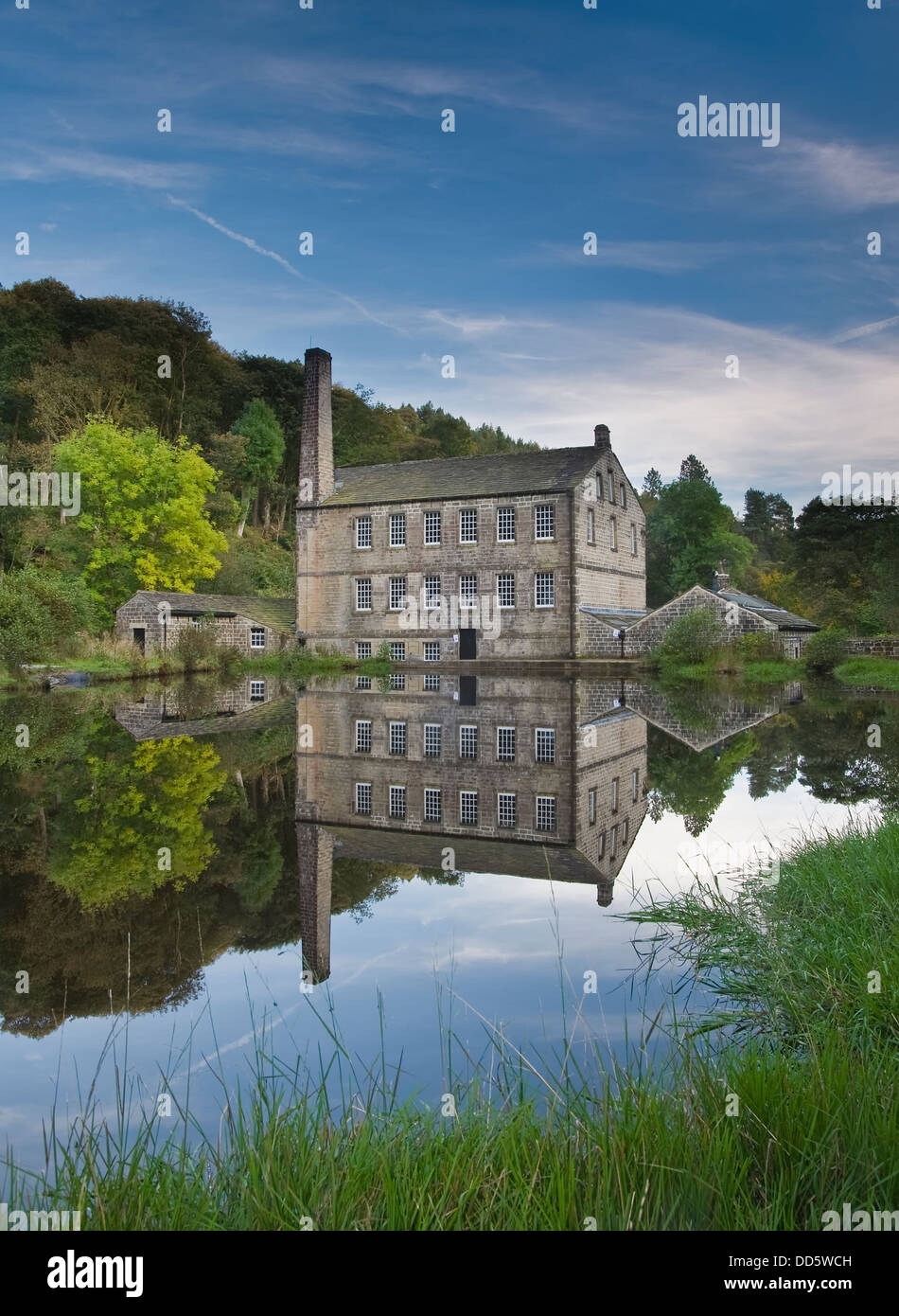 Gibson Mill in Hardcastle Crags nature park, Hebden Bridge, Calderdale, West Yorkshire - Stock Image