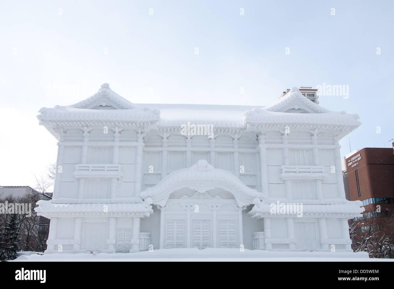 Sapporo, Japan - Feb. 9 2013 : Snow sculpture of Kabuki-za at Sapporo Snow Festival 2013 in Sapporo, Hokkaido, japan. - Stock Image