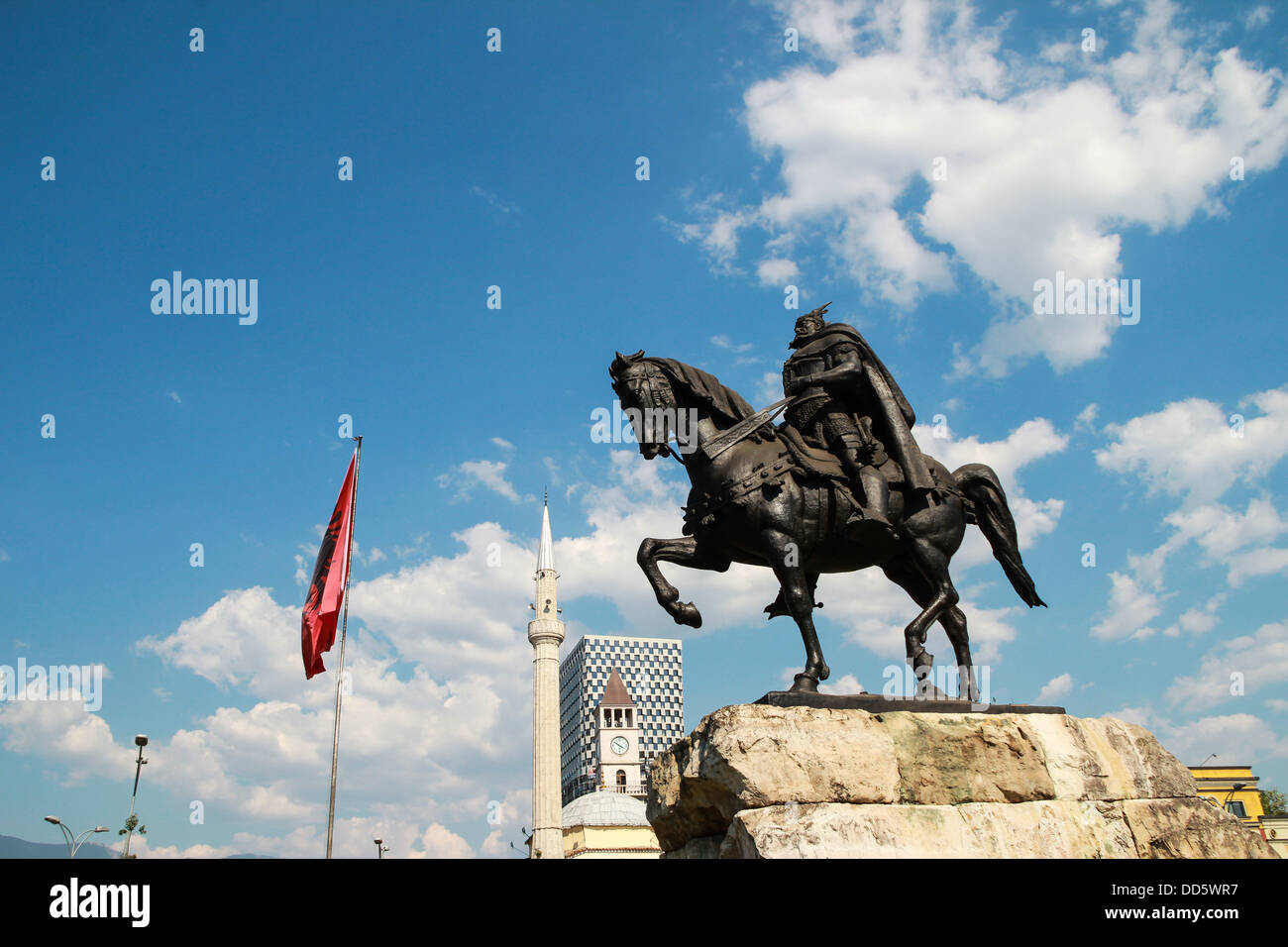 Statue Albanian national hero George Kastrioti Skanderbeg on his horse, in the main square of Tirana, the capital - Stock Image