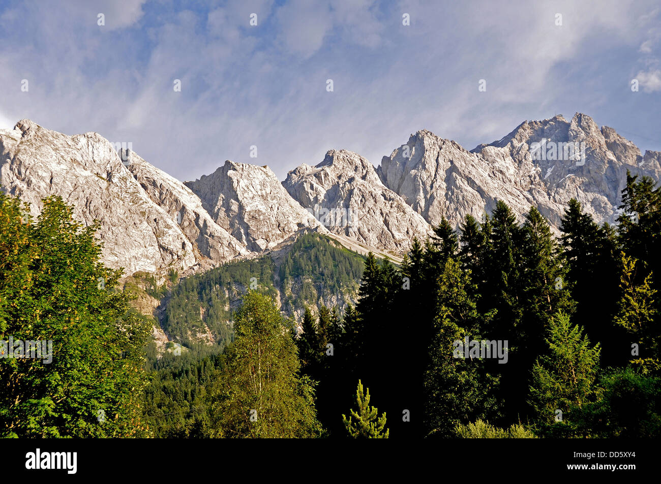 Eibsee, Bavaria, Germany. Zugspitze mountain in the background Stock Photo