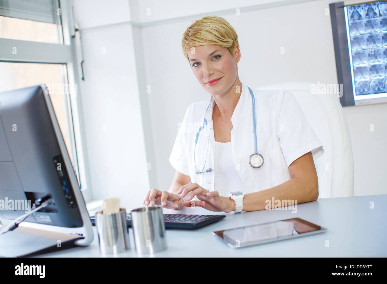 Doctor using Computer - Stock Image