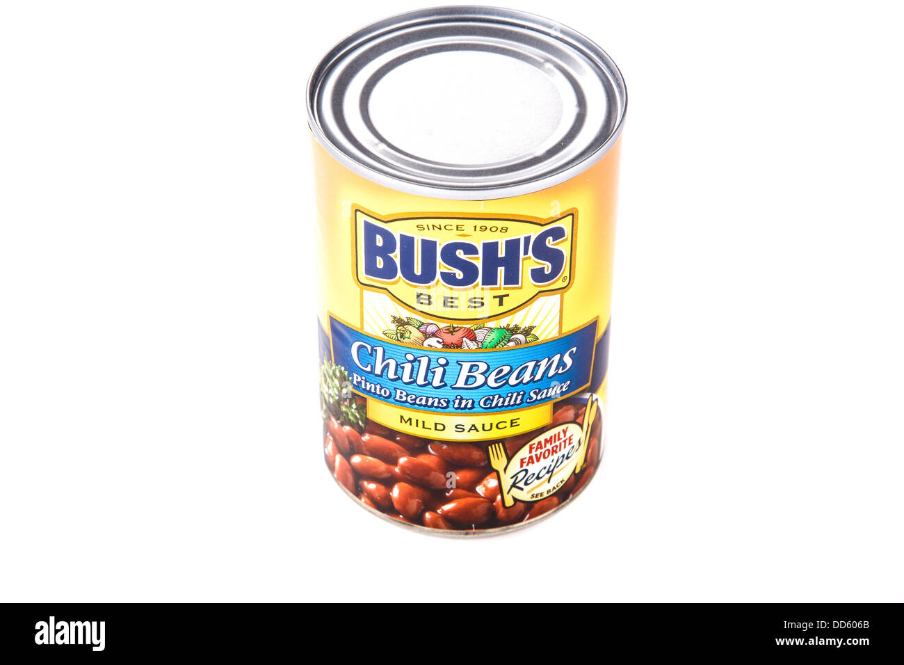 A can of Bush's Chili Beans on White Background - Stock Image
